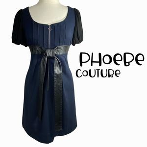 Phoebe Couture size Small blue and black wool and leather dress